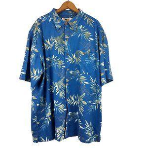 Joe Marlin Hawaiian Print Shirt Wooden Buttons 2XT